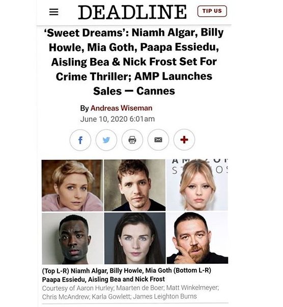 Aisling Bea to star in new Crime Thriller 'Sweet Dreams'  - June 10th, 2020
