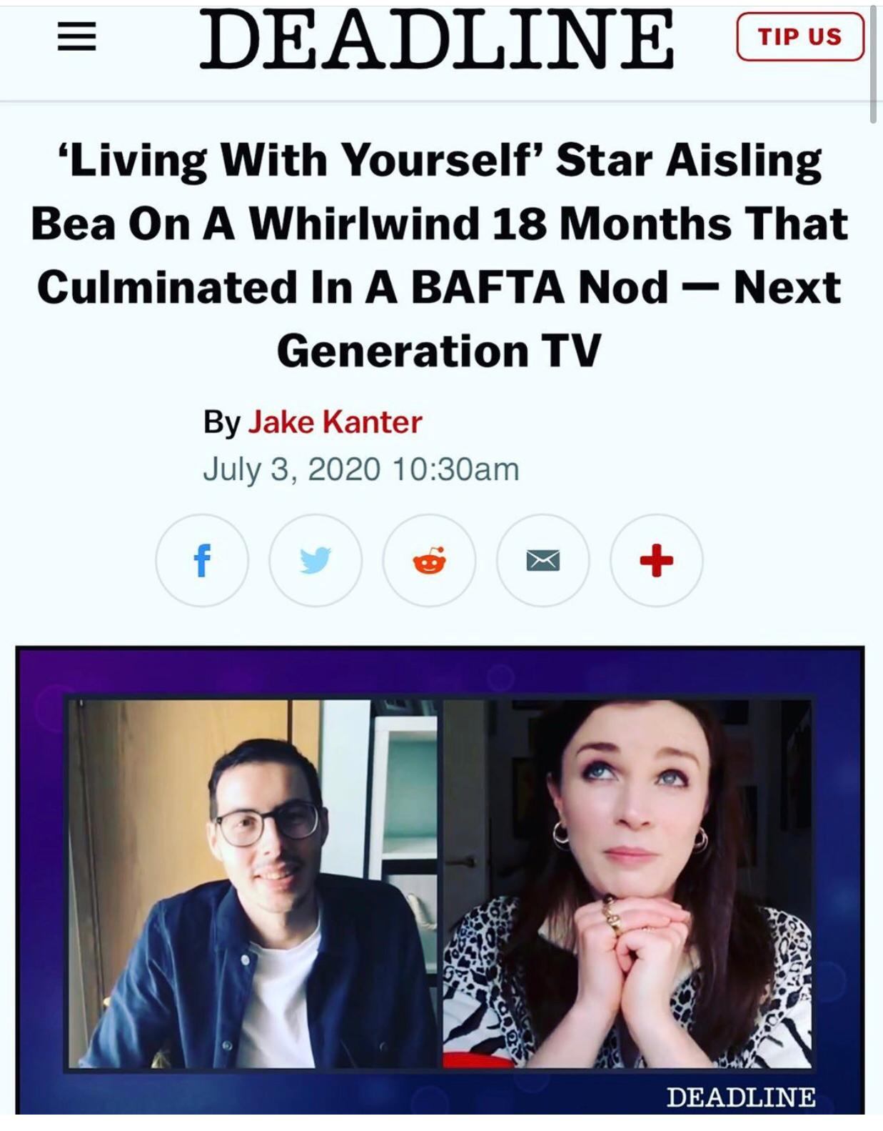 'Living With Yourself' Star Aisling Bea On A Whirlwind 18 Months That Culminated In A BAFTA Nod — Next Generation TV  - July 3rd, 2020