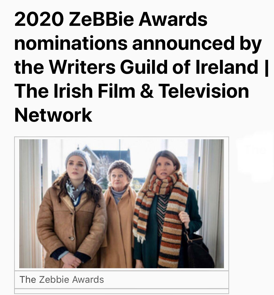 Writers Guild of Ireland Nomination for Best TV Script 2020  - October 7th, 2020