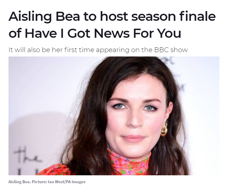Aisling Bea to host Have I Got News For You  - May 19th, 2021